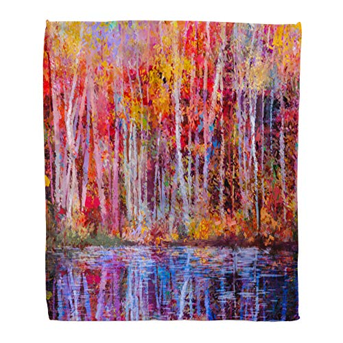 Emvency Throw Blanket Warm Cozy Print Flannel Oil Painting Colorful Autumn Trees Semi Abstract of Forest Aspen Yellow Red Comfortable Soft for Bed Sofa and Couch 50x60 Inches ()