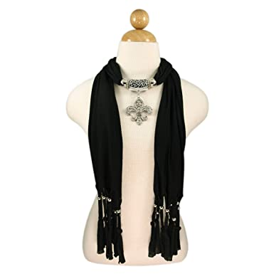 Elegant charm pendant jewelry necklace scarf w fleur de lis elegant charm pendant jewelry necklace scarf w fleur de lis medallion black aloadofball Gallery