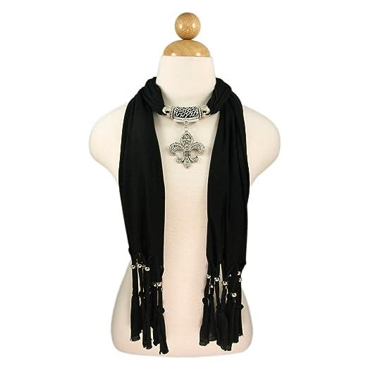 Elegant charm pendant jewelry necklace scarf w fleur de lis elegant charm pendant jewelry necklace scarf w fleur de lis medallion black aloadofball Images