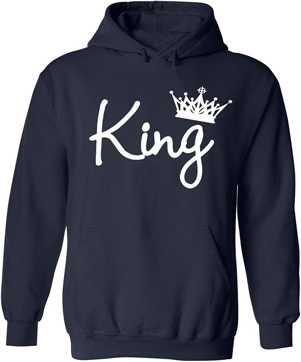 GOOD SHOPPERS ACTIVEWEAR Fathers Day King Crown White Script Font Unisex Pullover Hoodie Sweatshirt