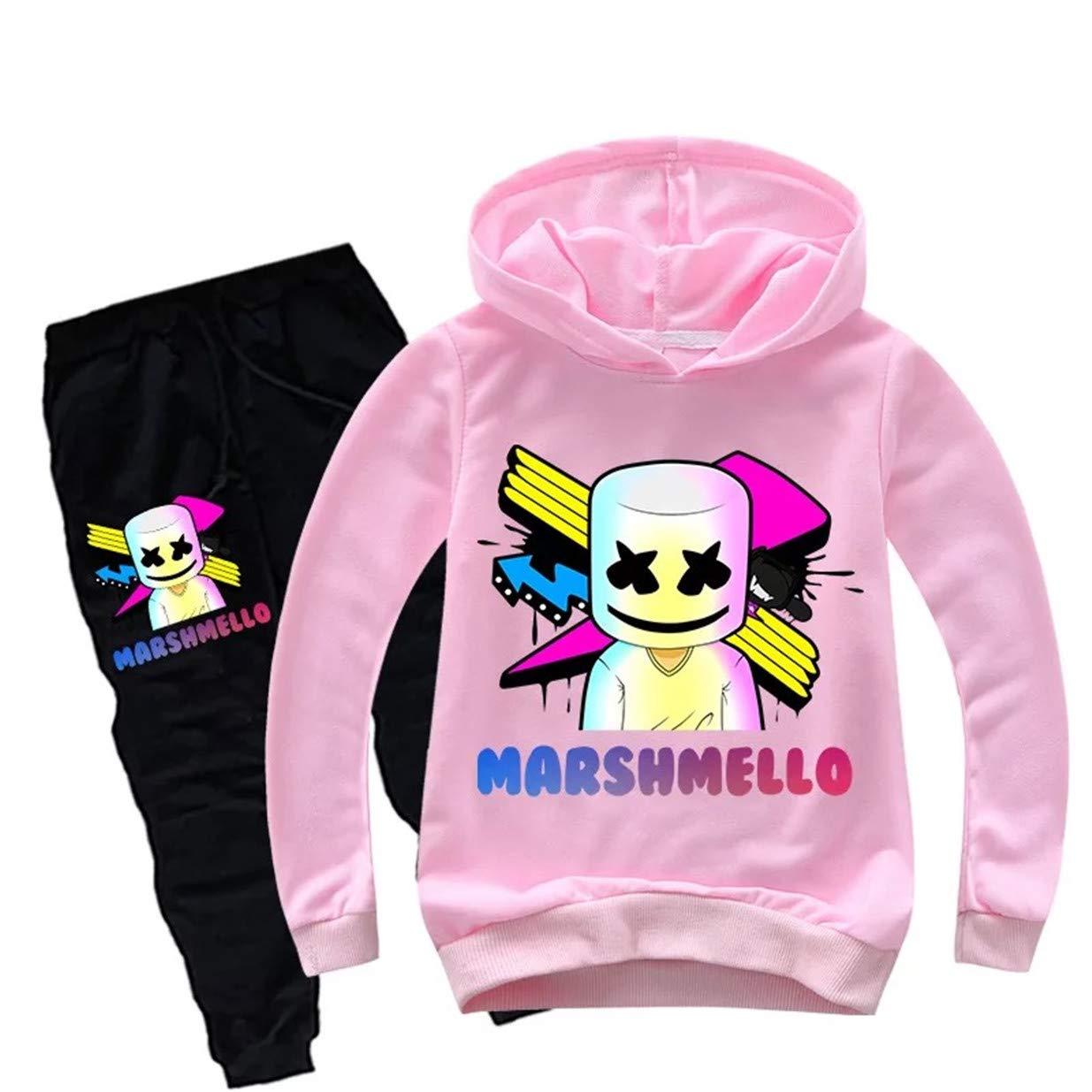 Ku-lee Kids DJ Marshmello Hoodie and Pants Set-3D Printed Long Sleeve Hooded Tops for Boys Girls