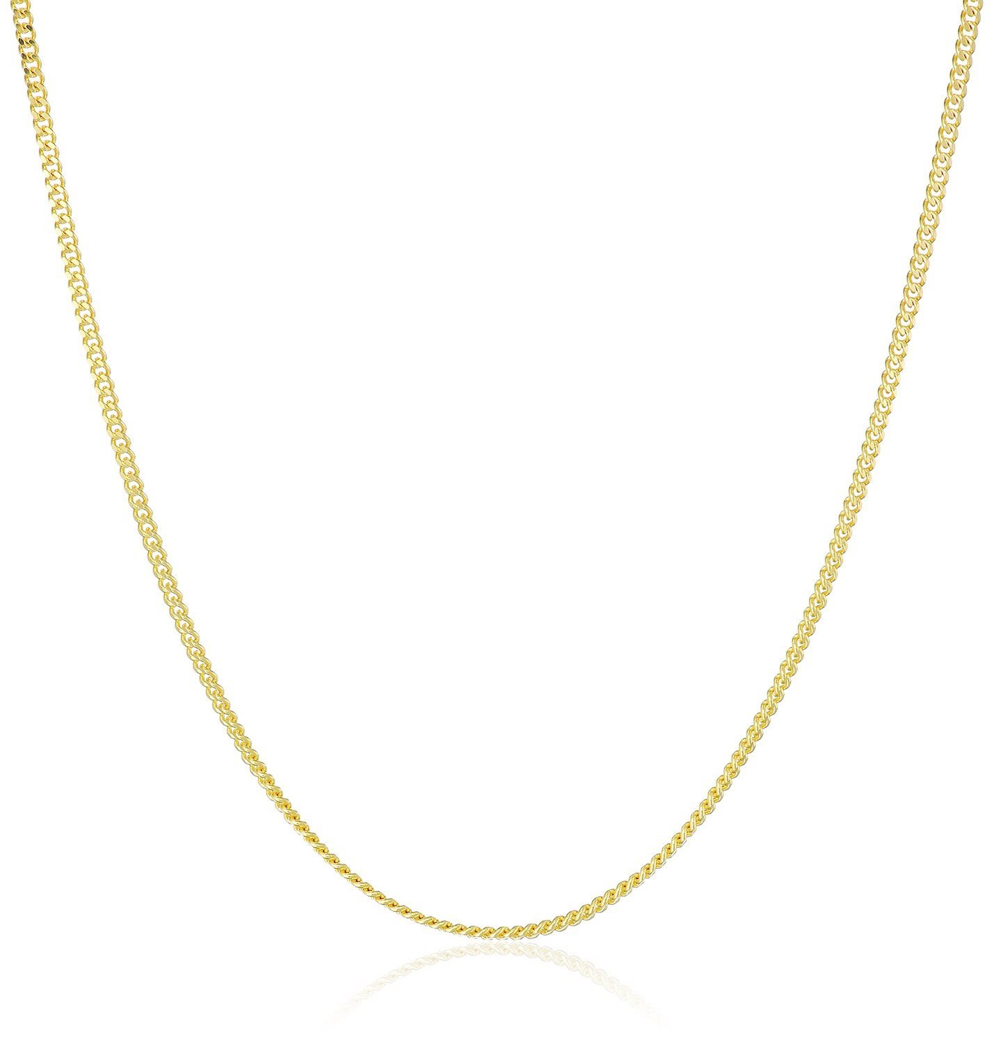 14K Solid Yellow Gold 1.5mm Cuban Curb Link Chain Necklace- Made in Italy- 16''-30'' (20.00)