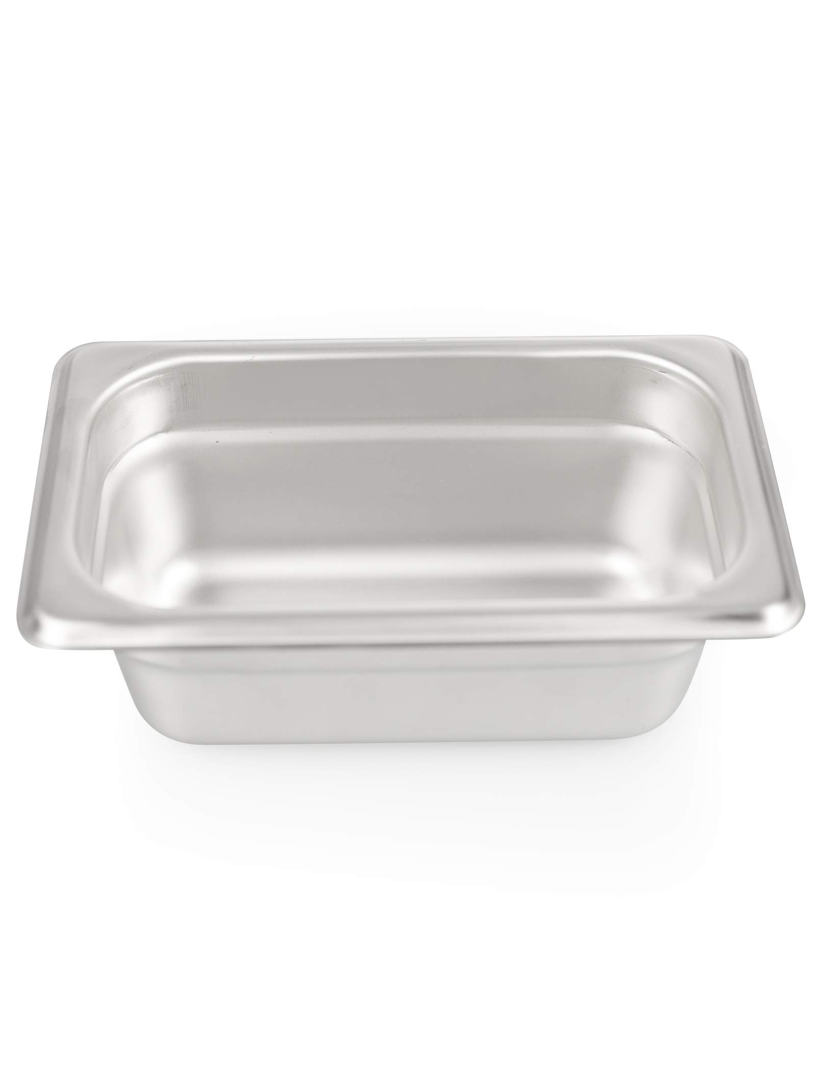 2 1/2'' Deep Steam Table Pan 1/9 Size, Kitma 0.6 Quart Stainless Steel Anti-Jam Standard Weight Hotel GN Food Pans - NSF (6.93''L x 4.25''W) - 12 Pack