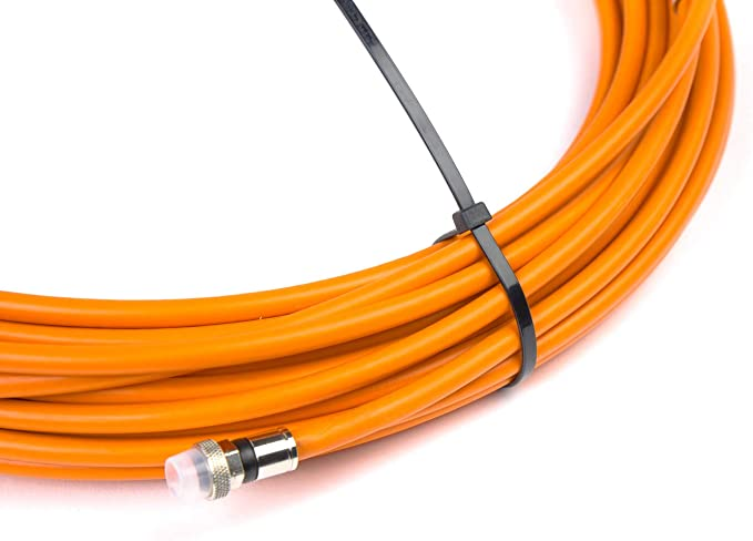 50ft AG Cables Black Messenger RG6 Digital Coaxial Cable Shielded PVC Jacket FIRE Rated UL CATV RoHS 75 Ohm RG6 Digital Audio Video Coaxial Cable with Premium Outdoor Metal Compression F-Connectors