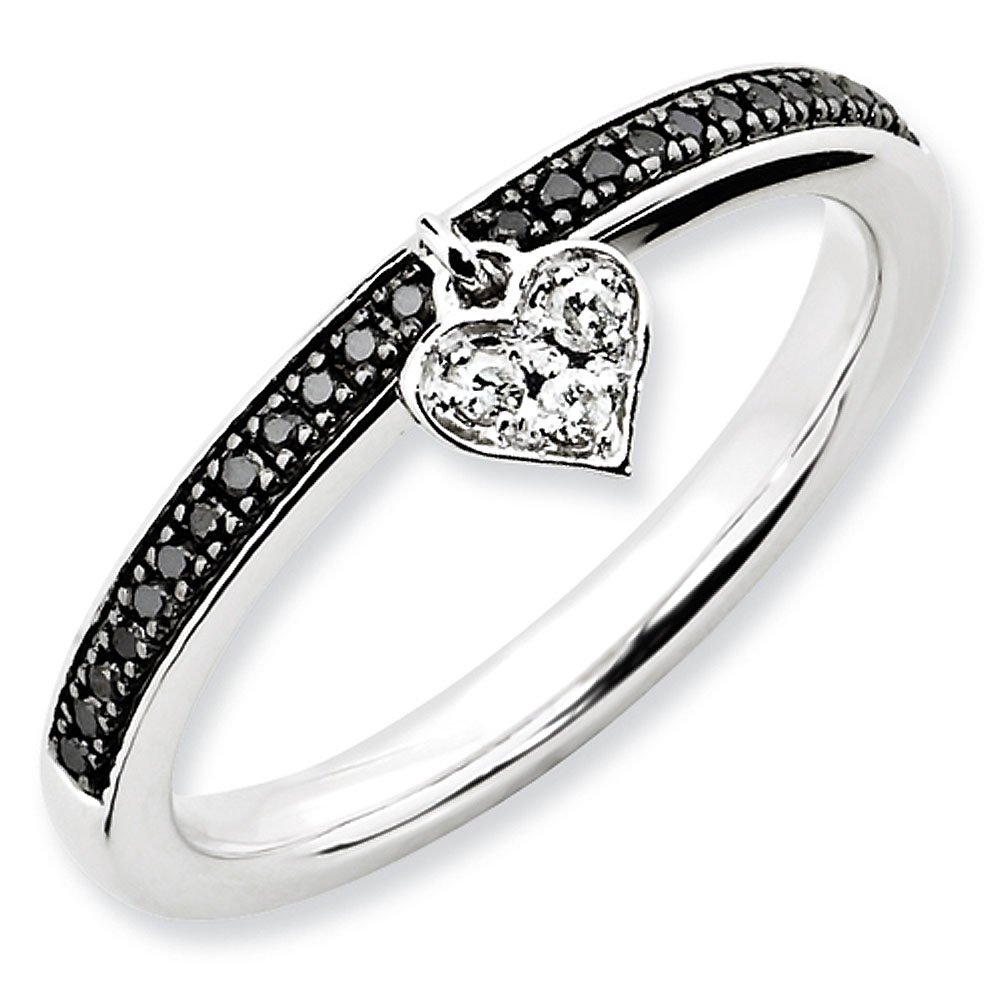 Sterling Silver Stackable Expressions Black and White Diamond Dangle Heart Ring - Size 5