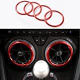 4pcs Red Air Conditioning Air Outlet Vent Cover Ring Decor Sticker For Chevrolet Camaro 2017+