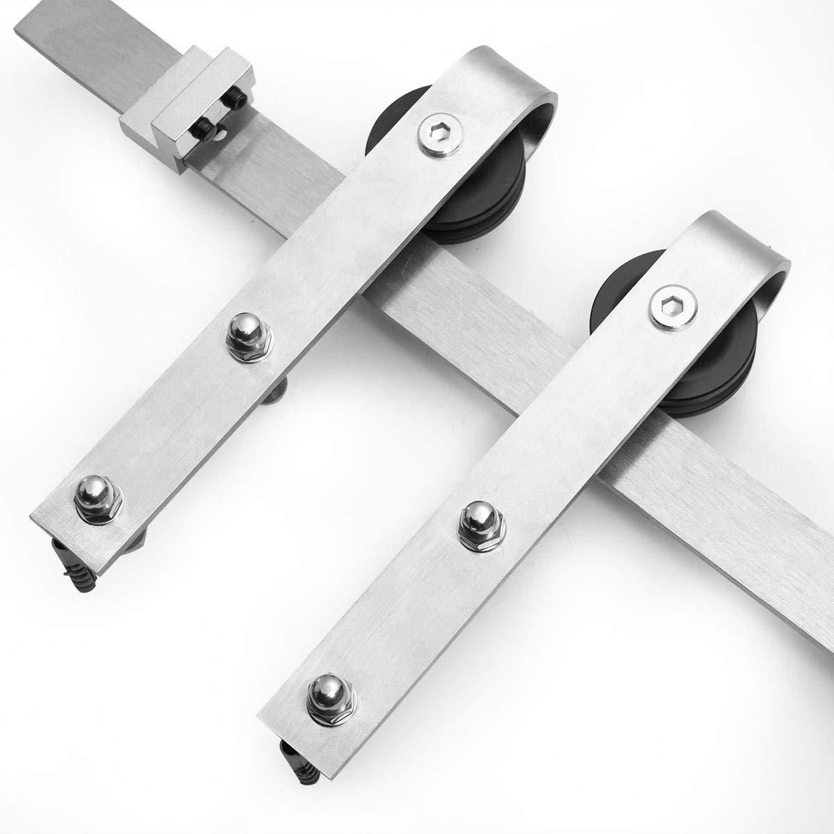 JAXPETY 6FT Stainless Steel Modern Sliding Barn Wood Door Hardware Track Set Single Door