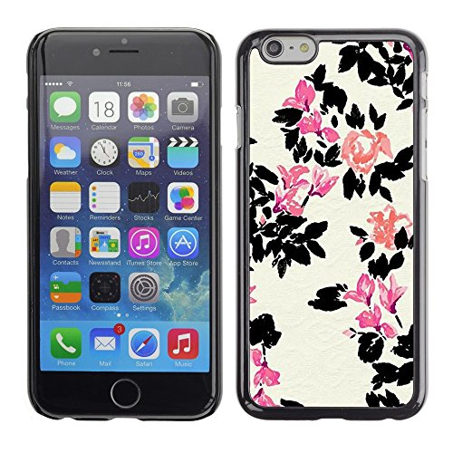 Soft Silicone Rubber Case Hard Cover Protective Accessory Compatible with Apple iPhone? 6 (4.7 Inch) - white flower pink minimalist