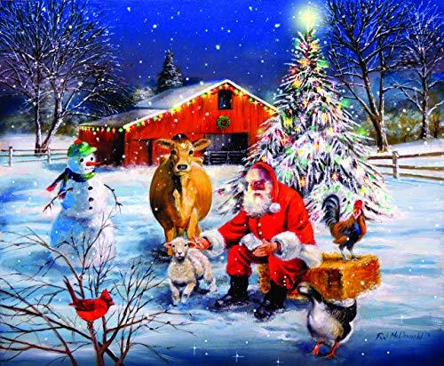(SunsOut Santa at The Farm 300 Piece Jigsaw Puzzle)