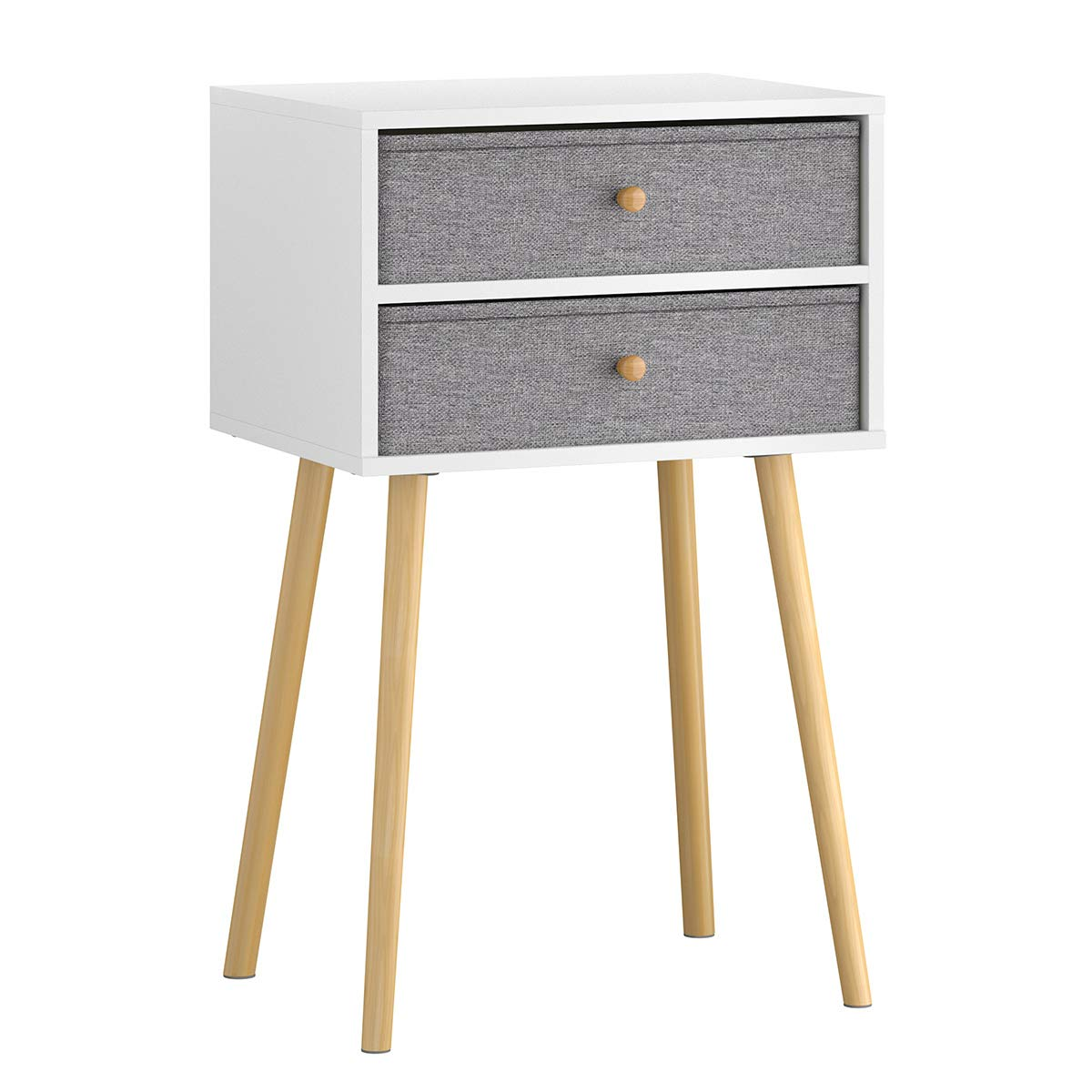 LANGRIA Bedside Table Nightstand End Table with Fabric Storage Drawer Pine Wooden Table for Bedroom Study and Fashion 15.7 x 11.7 x 22.4 inches (Grey) by LANGRIA