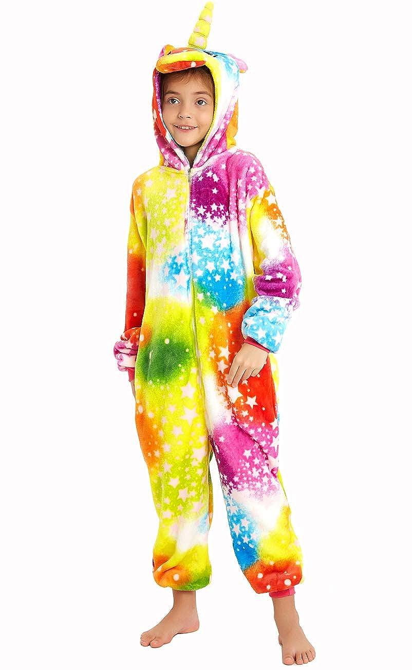 Kids Fleece Unicorn Onesies Pajamas Animal Christmas Halloween Cosplay Costume