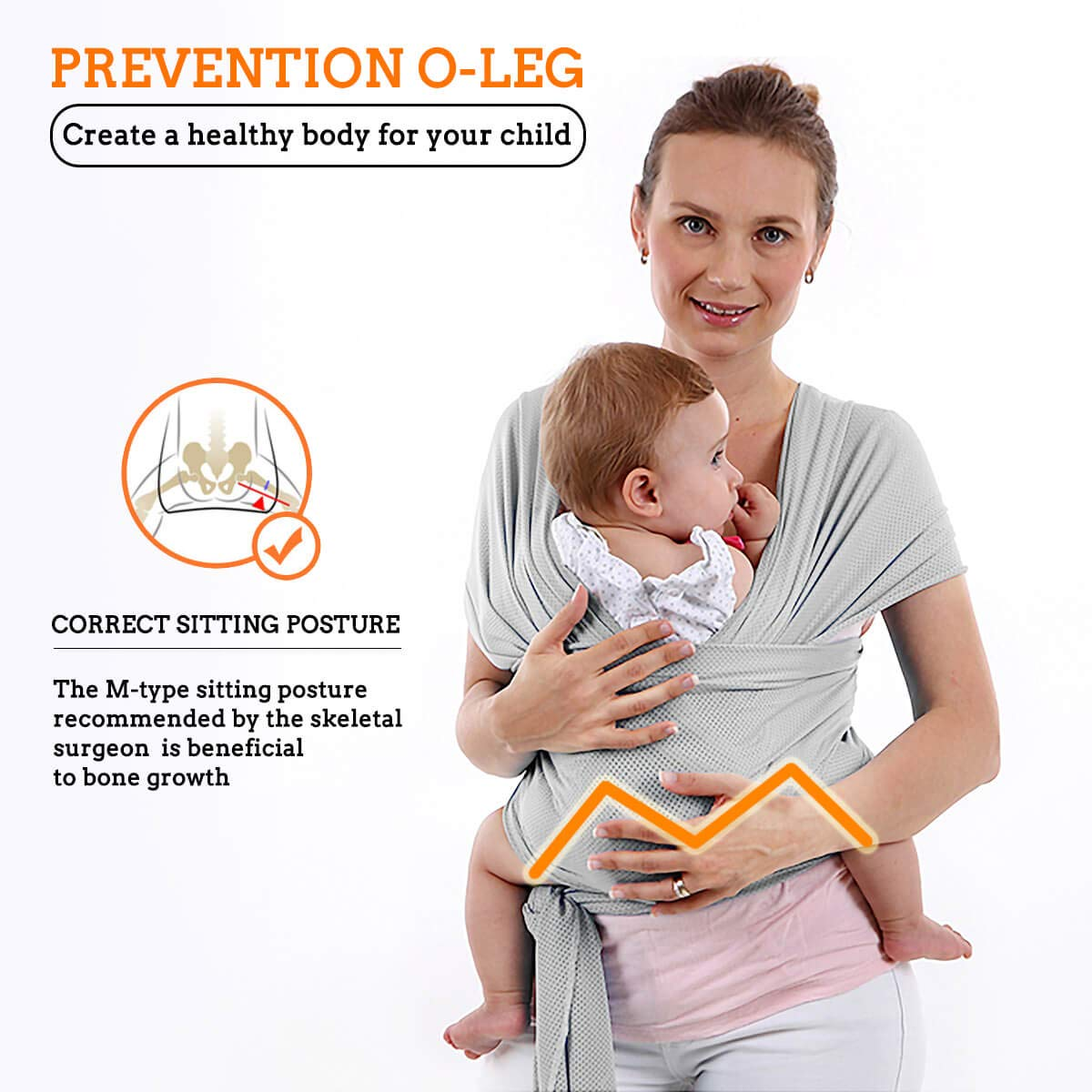 Perfect Baby Carrier Wrap for Parent to Nurse Newborn One Size Fit All Exllent Infant Carrier FRUITEAM Baby Wrap Sling Light Gray