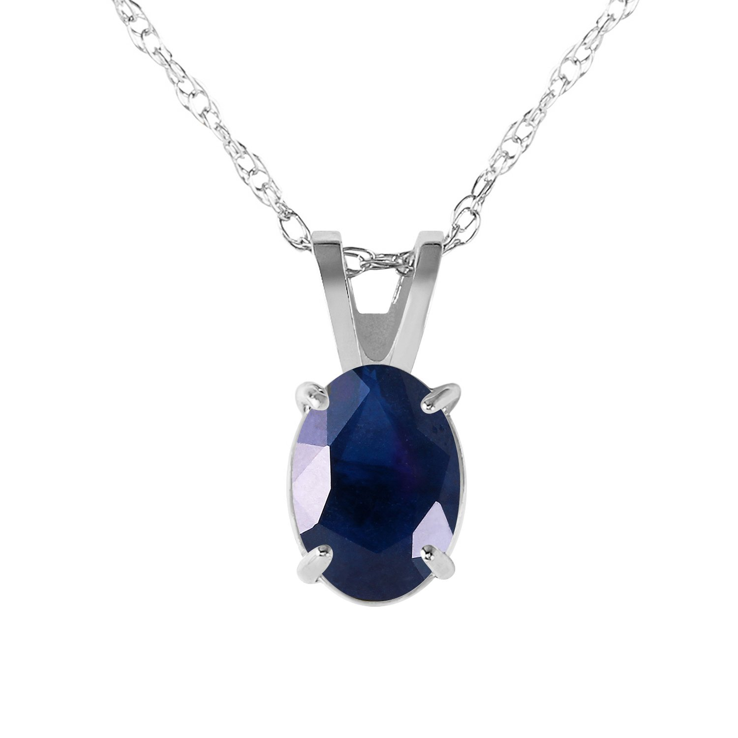 1 Carat 14k 20'' Solid White Gold Oval-shaped Natural Sapphire Pendant Necklace