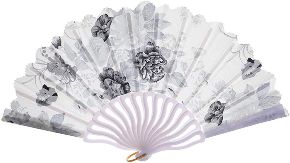 Adaoxy Abanico Plegable Vintage de Moda para Fiestas de Disfraces, Accesorios para Fiesta de brotes de Flores, Abanico de Mano, plástico, Gris, Talla única