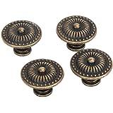 OULII Vintage Coffret Tiroir Placard Pull Poignée Bouton, Pack de 4 (Bronze)
