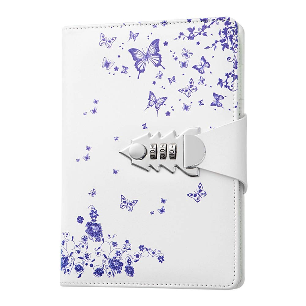 JunShop A5 PU Leather Password lock Diary Personalized Journal With Lock Diary With Combination Lock For Girls Boys (Style 2)