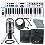 Arturia KeyLab Essential 49 Universal MIDI Keyboard Controller and Software + Deluxe Accessory Bundle w/ Samson Meteor Mic, SR350 Headphones, Keyboard Stand, More