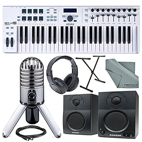Arturia KeyLab Essential 49 Universal MIDI Keyboard Controller and Software + Deluxe Accessory Bundle w/ Samson Meteor Mic, SR350 Headphones, Keyboard Stand, More by Photo Savings