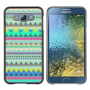 Native American Indian Pattern Verde- Metal de aluminio y de plástico duro Caja del teléfono - Negro - Samsung Galaxy E7 / SM-E700