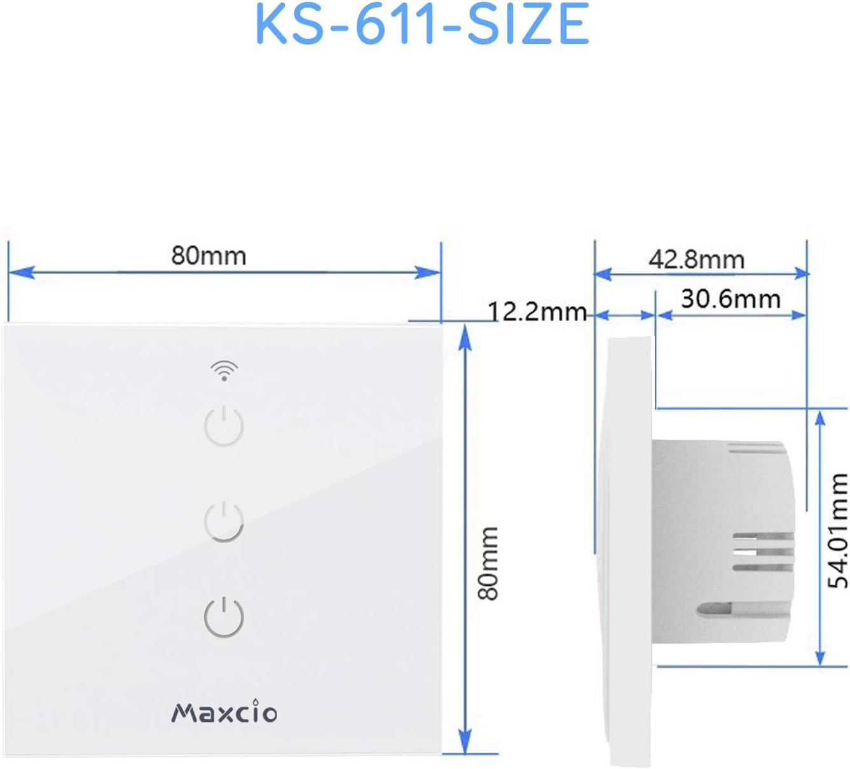 Aucune Hub Requise Interrupteur d/'/Éclairage Sans Fils Smart WiFi Switch Contr/ôl/é par L/'APP Gratuite Timer et Partager Maxcio Interrupteur connect/é Compatible avec Alexa et Google Home - 3 Canaux