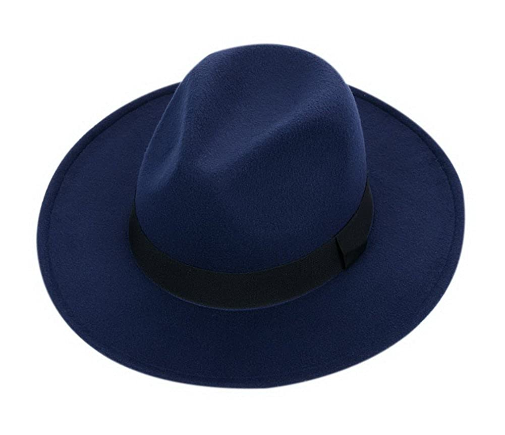 a3f24aa9ba2 Amazon.com  Wool Floppy Hat Felt with Wide Brim Vintage Jazz Bowler Hat for  Women