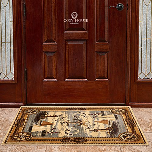 100% Wool Capel Rugs (Door Mat Rugs by Cosy House - Thick Indoor Outdoor Front Doormat for Entrance, Kitchen, Bathroom, Bedroom Entry | 100% Olefin Polypropylene Fiber (2 Feet by 4 Feet, Wildlife)