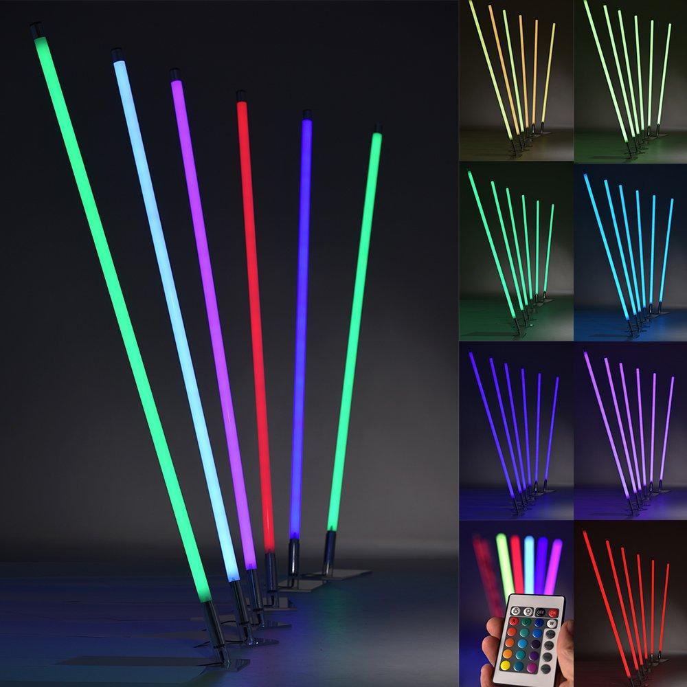 PROHEIM Leuchtstab RGB LED mit IR-Fernbedienung und Halterung Ø3cm Leuchte mit Dimmfunktion und Farbwechsel-Programmen Lichtstab, Länge 130 cm