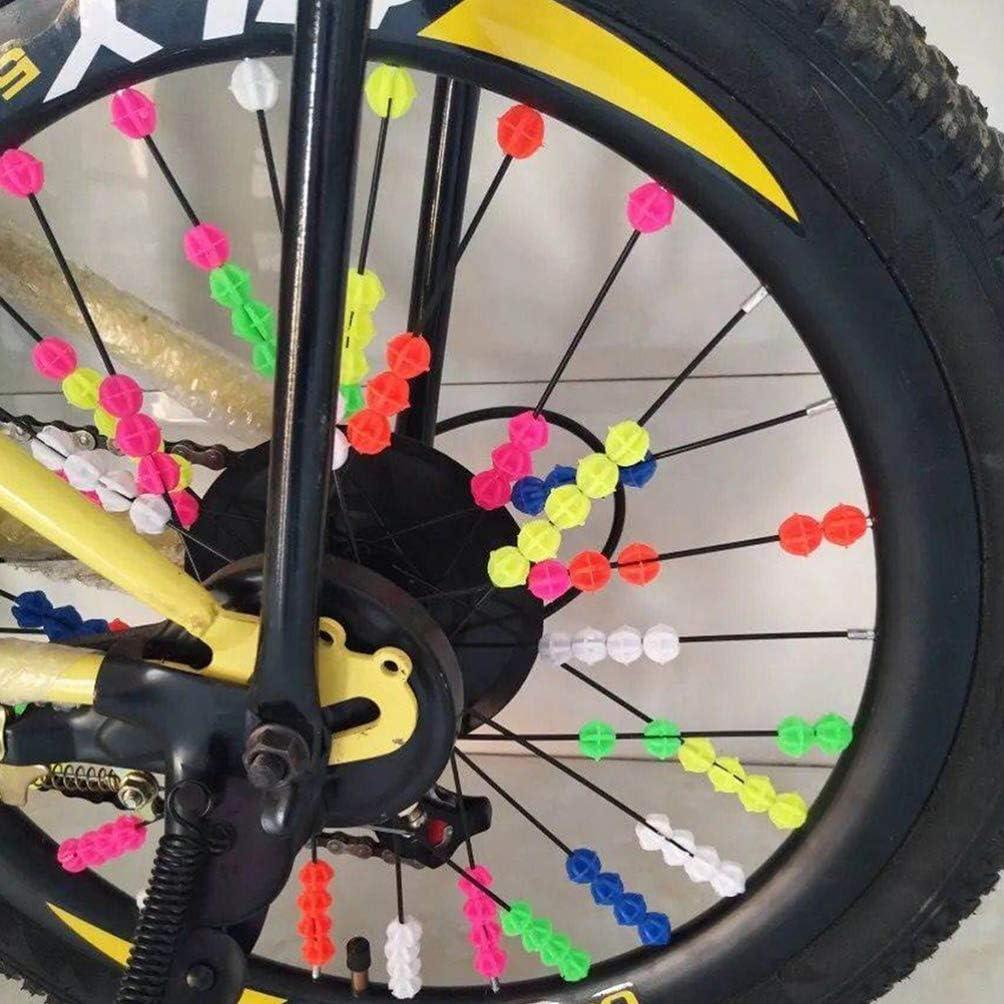 36 Ordinary Beads, 36 Luminous Bike Beads IMIKEYA 72pcs Bicycle Spoke Beads Colorful Bike Beads Glow in The Dark Bicycle Wheel Spoke Beads Decor