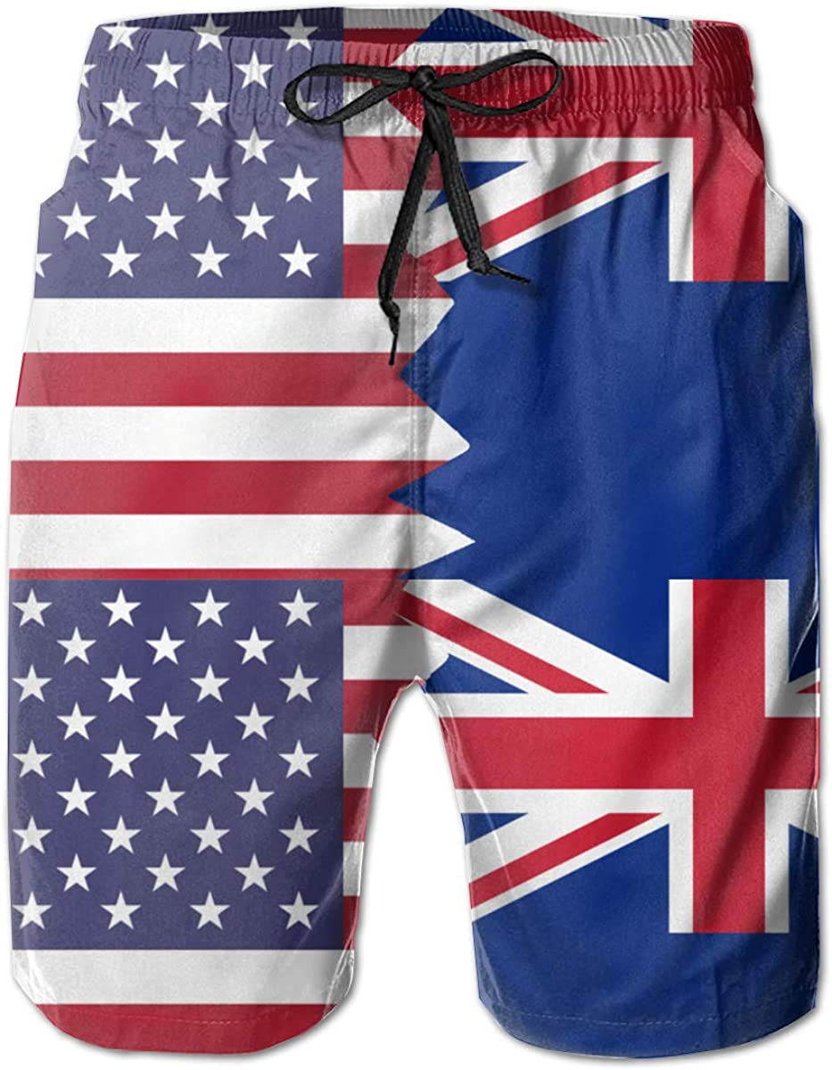 American New Zealand Flag Mens Classic Fit Beach Shorts Flower Bathing Suit Best for Vacation