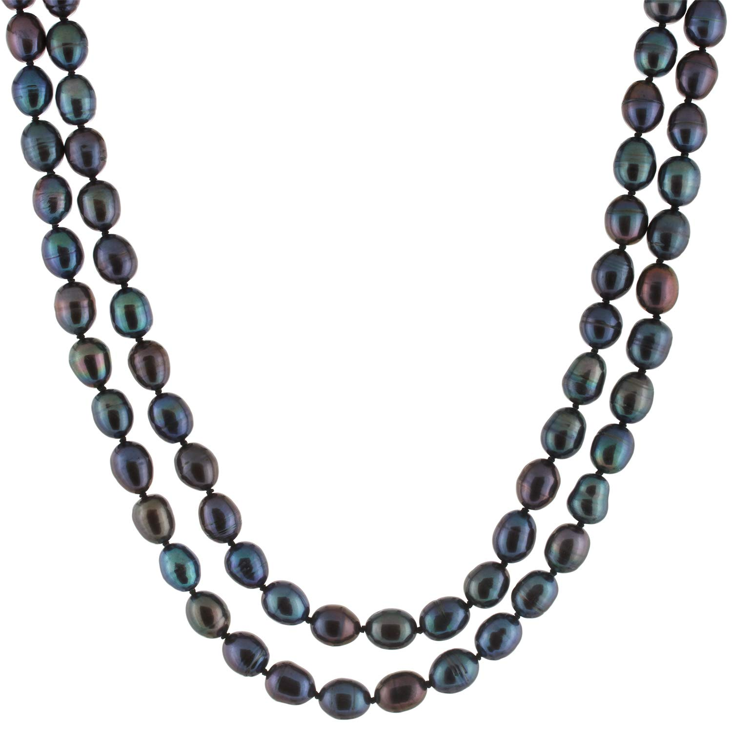 Handpicked A Quality 8-9mm Black Freshwater Cultured Pearl Strand Endless 60'' Necklace
