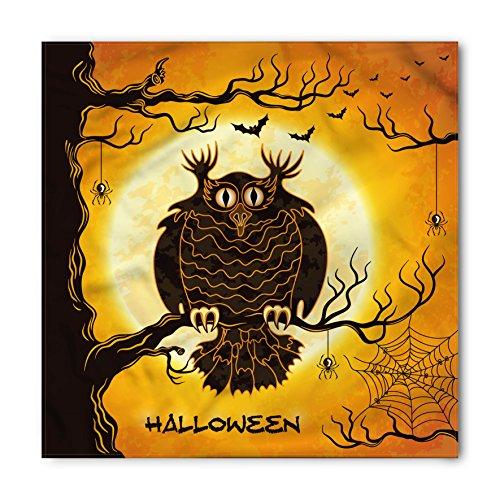 Lunarable Halloween Bandana, Owl on Tree Spider Web, Unisex Head and Neck (Spider Web On Face Halloween)