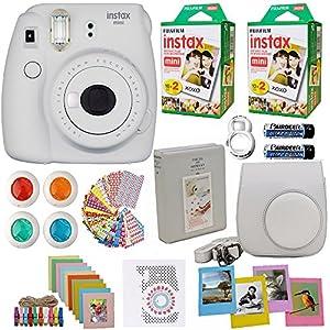 Fujifilm Instax Mini 9 Instant Camera White (USA)+ Fuji INSTAX Film (40 Sheets) + Accessories Kit Bundle +Case with Strap + Selfie Lens + Assorted Frames + Photo Album + Colorful Sticker Frames + Mor