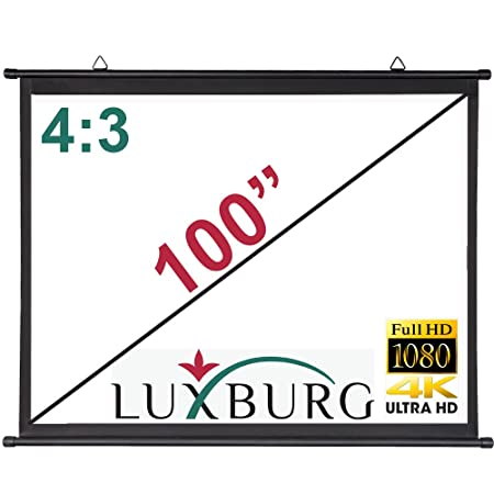 Luxburg - Pantalla de proyección para proyector de Barra Simple 4K, 3D, 203 x 152 cm, Tejido Blanco Mate, Montaje en Pared o Techo