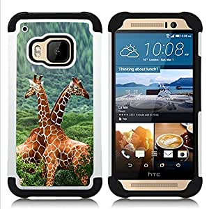 GIFT CHOICE / Defensor Cubierta de protección completa Flexible TPU Silicona + Duro PC Estuche protector Cáscara Funda Caso / Combo Case for HTC ONE M9 // Twin Giraffes //