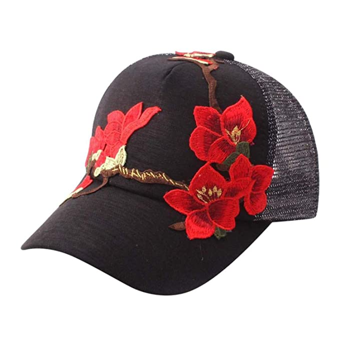9231eb0f835 Summer Applique Breathable Floral Baseball Cap Snapback Caps Hip Hop Hats  Summer Mesh Hat Sunshade Hat