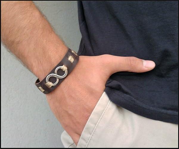 amazon com infinity symbol bracelet mens leather cuff wristband
