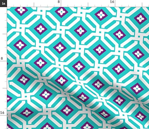 Spoonflower Aberdeen Fabric - Aqua Plum Geometric Maze by Willowlanetextiles Printed on Petal Signature Cotton Fabric by The Yard