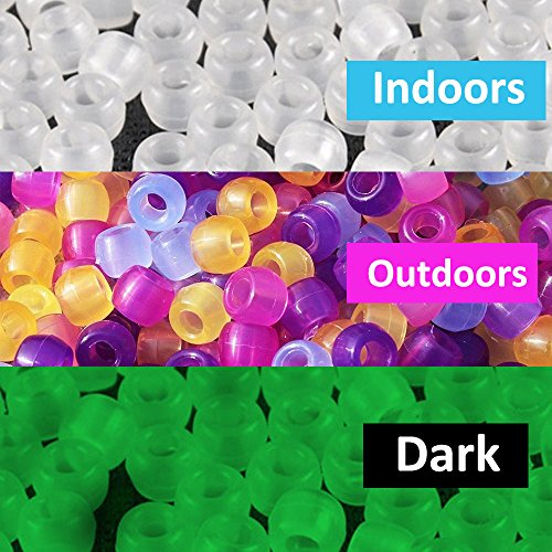 Mahoo 1200 Pieces UV Beads Scientific Multi Color UV Pony Beads, Changing Reactive Plastic Beads , Glows in the Dark, Fun for Jewelry / Bracelets Making