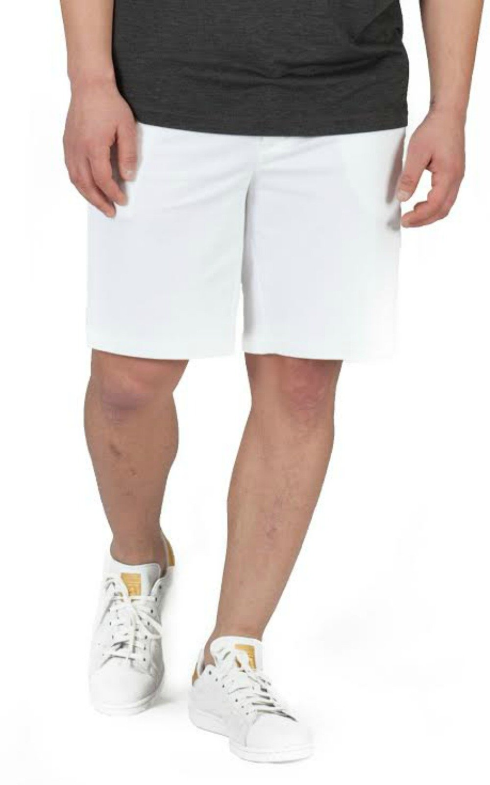 Buki Men's Fine Line Twill Flat Front Knit Short with Stretch Waistband Medium White - Designed in Seattle.