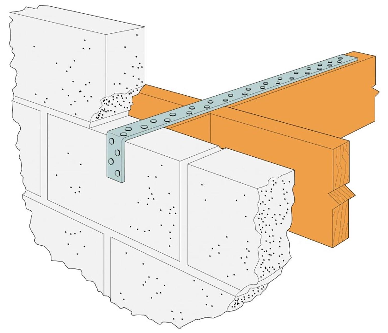 1500 x 150mm B x B1 Heavy Restraint Simpson Strong-Tie Bend Straps Masonry Pre-Galvanised High Quality Mild Steel 800mm - 1500mm
