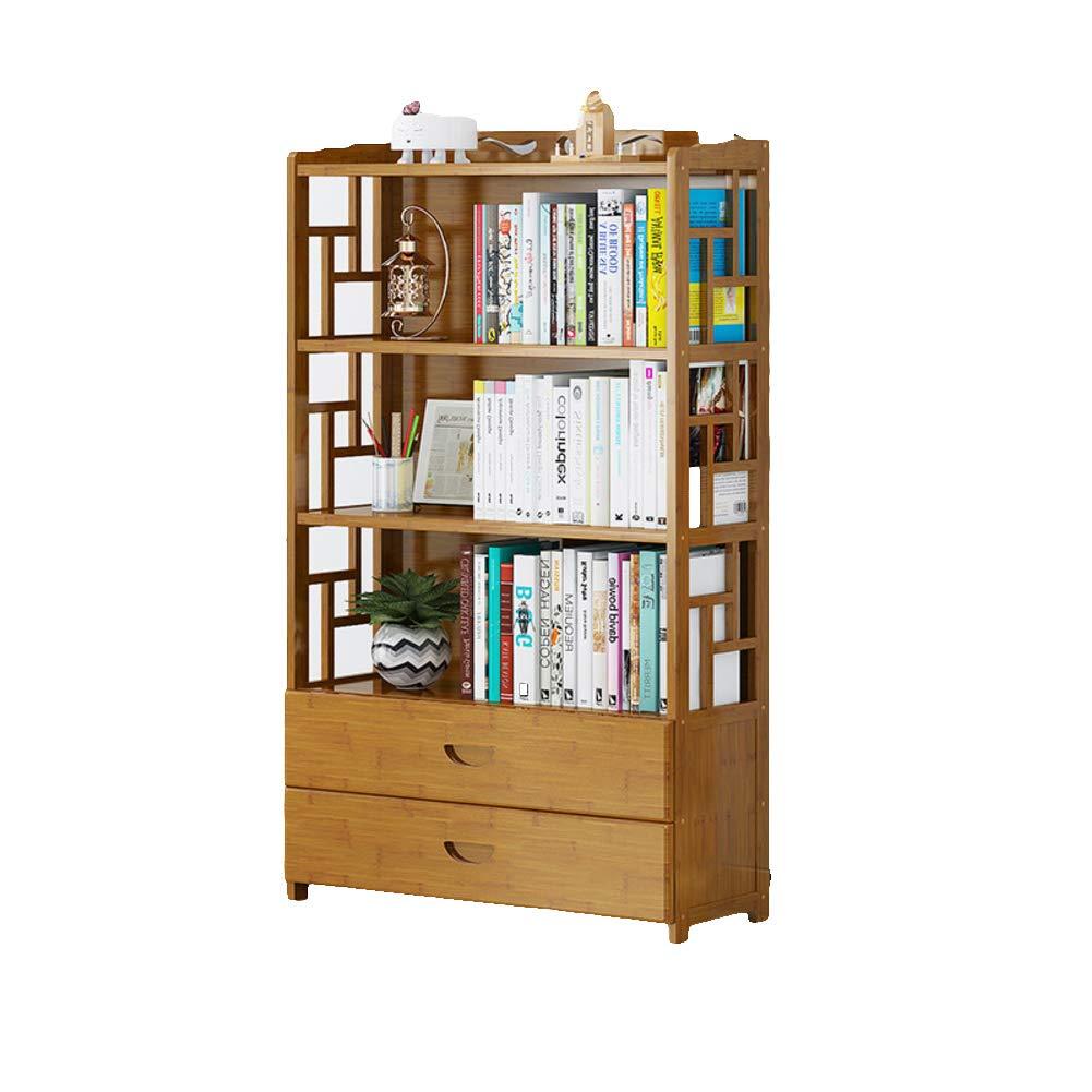 F 70X25X129cm Bamboo Drawer Vintage Bookcase, Multi-Layer Floor-Standing Bookshelf Student Living Room Storage Rack Wood Shelves-E 70X25X99cm