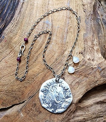 Thai Karen Hill Tribe Silver Necklace | Oxidized Sterling Silver Necklace | Moon Necklace| Chalcedony Necklace | Ruby Necklace | Bohemian Necklace