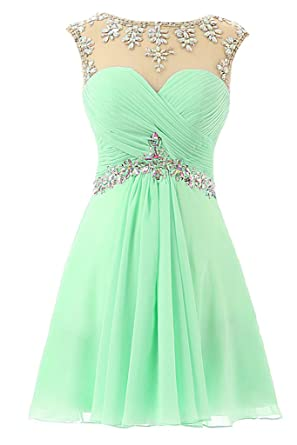 HONGFUYU Womens Chiffon Ruched Open Back Short Beaded Prom Dresses Cocktail Party Homecoming Dress Mint UK14