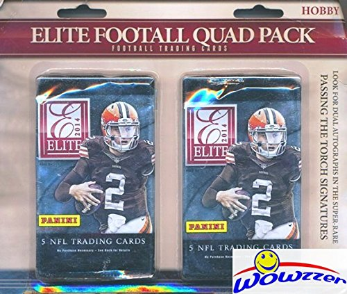2014 Panini Elite NFL Football Factory Sealed HOBBY Hanger with 4 Packs! Look for Rookie Cards, Memorabilia & Autographs of Derek Carr, Odell Beckham Jr., Jimmy Garoppolo & Many More! WOWZZER!