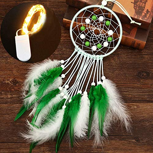 Wind Chimes - OOTDTY Handmade Dream Catcher Net with Feathers Beads Wall Hanging Ornaments Dreamcatcher Bell Bedroom Home Car Decor