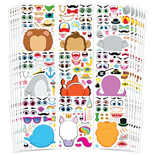 JOYIN 36 PCS Make-a-face Sticker Sheets Make Your Own Animal Mix and Match Sticker Sheets with Safaris, Sea and Fantasy Animals Kids Party Favor Supplies Craft