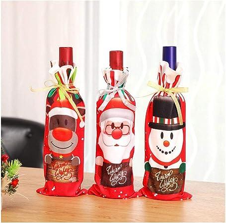 ICYANG - Juego de 3 fundas para botellas de vino tinto de Navidad, bolsa de regalo para cena, decoración de mesa, adornos, Papá Noel, Clause, muñeco de nieve, reno: Amazon.es: Hogar