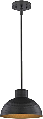 Westinghouse Lighting Oil Rubbed Bronze 6309900 One-Light Indoor Pendant, Hammered Finish and Metal Shade with Gold Interior
