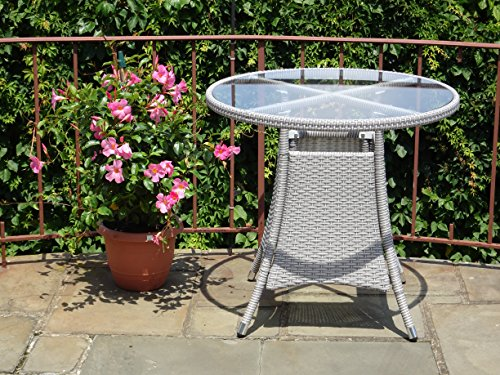 3 Pc Patio Resin Outdoor Wicker Dining Set. Round Table W