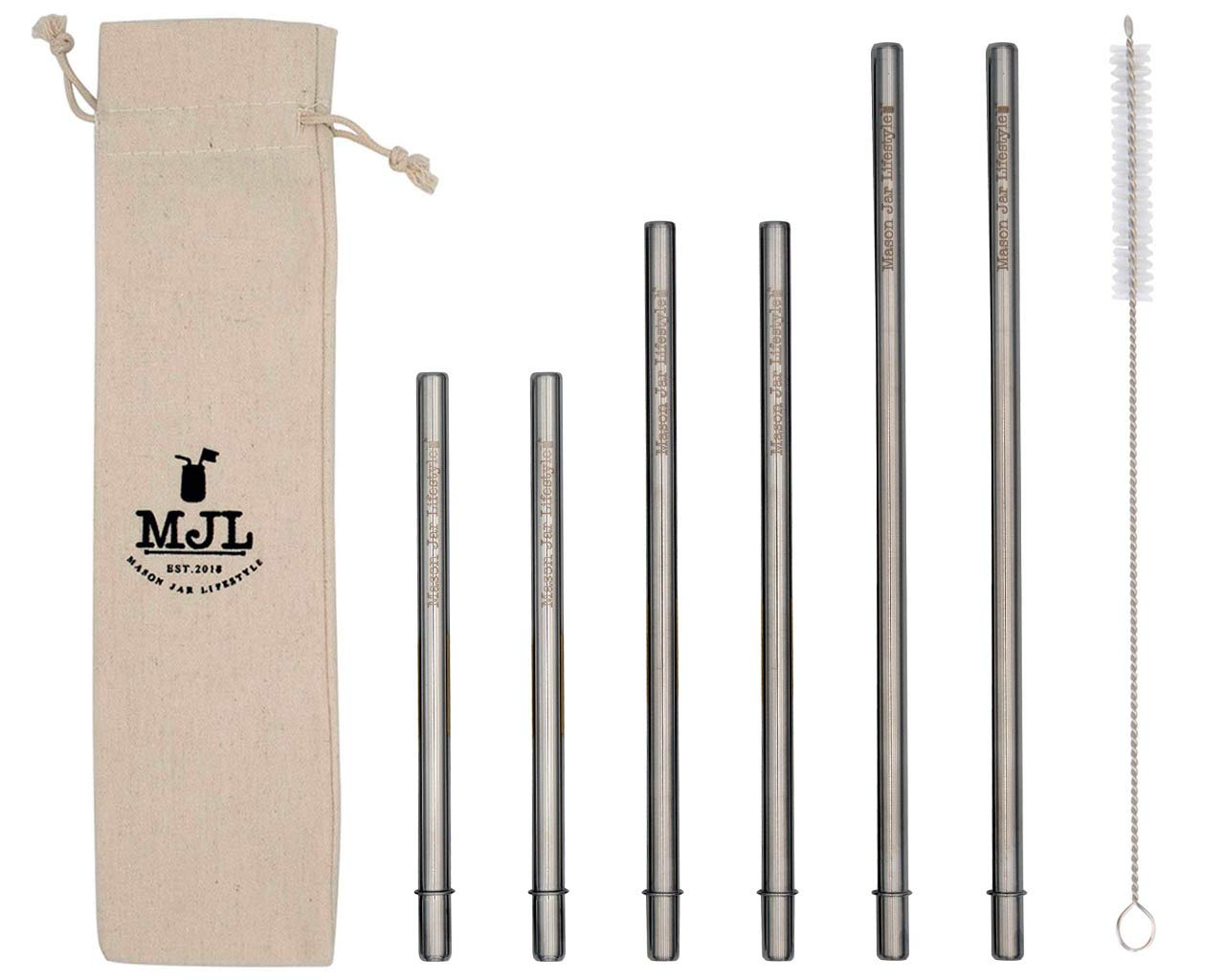 Combo Pack Safer Rounded End Stainless Steel Metal Straws for Mason Jars (6 Pack + Cleaning Brush + Bag)